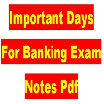 Important Days For Banking Exam Notes Pdf